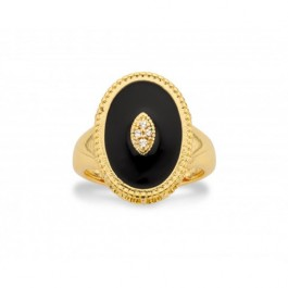 Black enamelled palace gold Plated Ring