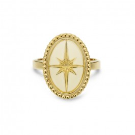 Ivory enamelled Eclat gold Plated Ring