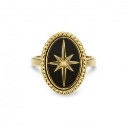 Black enamelled Eclat gold Plated Ring