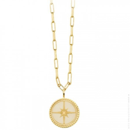 Ivory enamelled Eclat Gold platted necklace