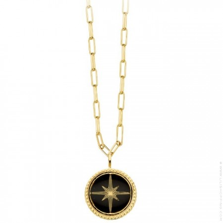 Black enamelled Eclat Gold platted necklace