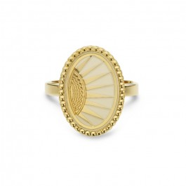 Ivory enamelled Divine gold Plated Ring