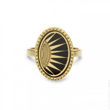 Black enamelled Divine gold Plated Ring