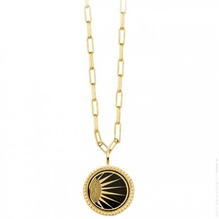 Black enamelled Divine Gold platted necklace