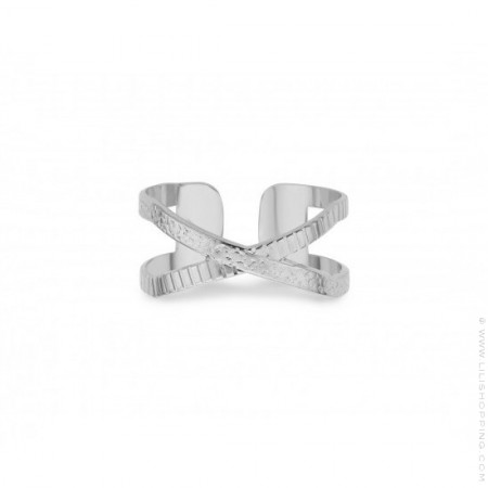 Striated Soho Silver Plated Ring