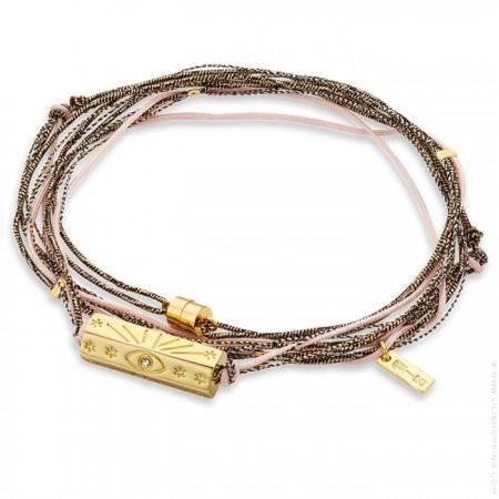 Bracelet multi cordons Martinique rose