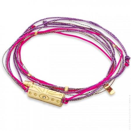 Bracelet multi cordons Martinique fuschia