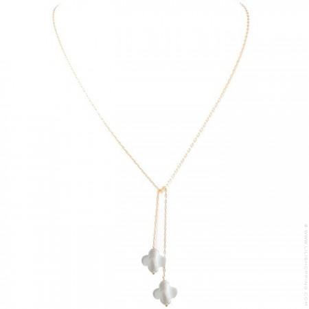 Collier - sautoir cravate plaqué or et nacres blanches