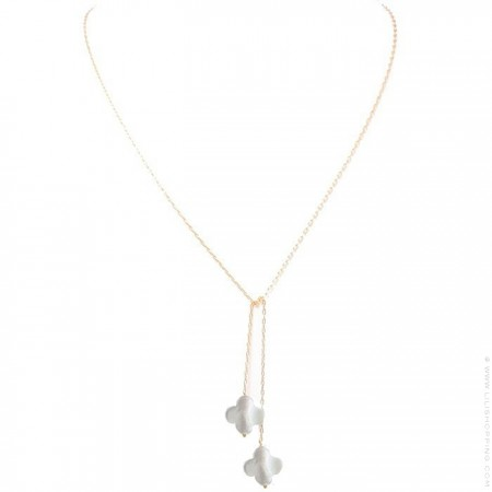 Gold Plated and white seashell Long Lariat Necklace