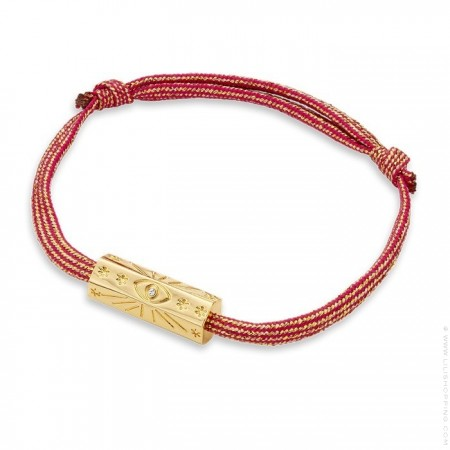 Bracelet cordon fushia irisé Martinique plaquée or