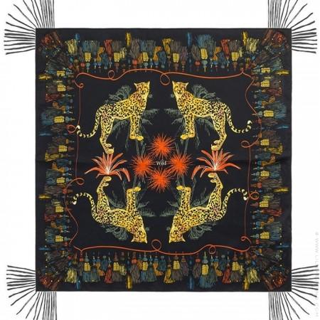 Pompon black pareo (sarong) or scarf