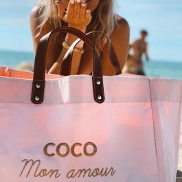 Pink Mademoiselle bag Coco mon amour gold glitter