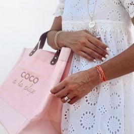 Pink Mademoiselle bag Coco à la plage gold glitter