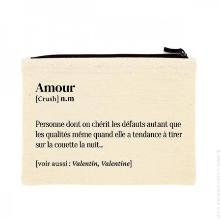 Amour printed cotton pouch