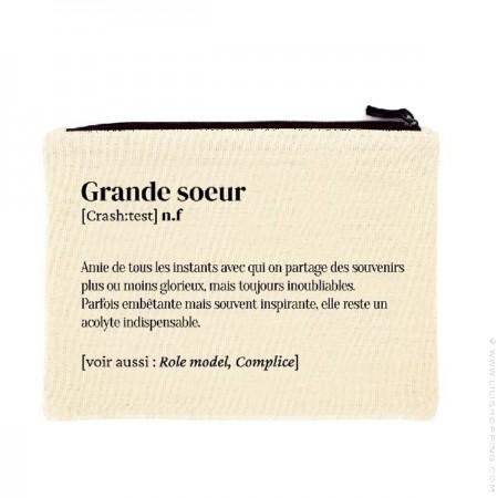 Grande soeur printed cotton pouch