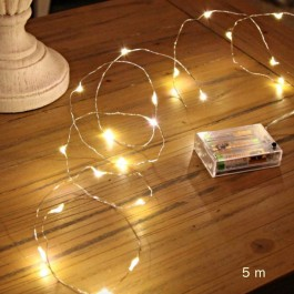 50 micros Led silver garland - 5 m warm white