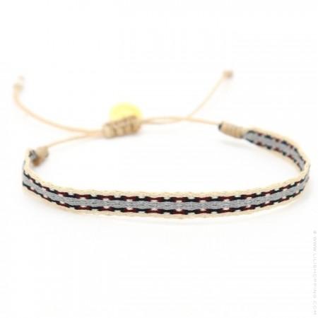 Bracelet Argentinas beige gris pourpre