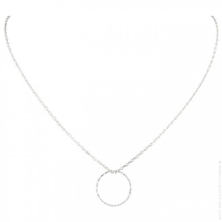 Silver chiseled ring Chain Necklace