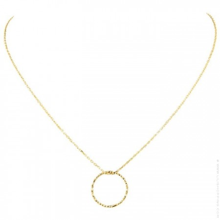 Gold plated chiseled ring Chain Necklace