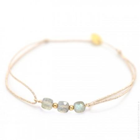 3 labradorite stones on a lurex Bracelet