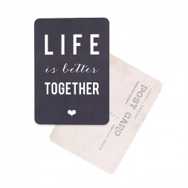 Life is better together slate grey Cinq Mai postcard