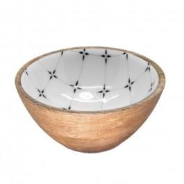 Rectangular dish in mango wood with diamond enamel