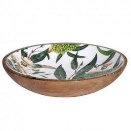 Salad bowl in mango wood with tropical enamel