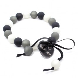 Grey and black mini beads bracelet Zoe Bonbon
