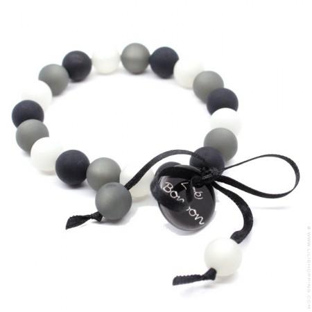 Grey and black mini beads bracelet Zoe Bonbon