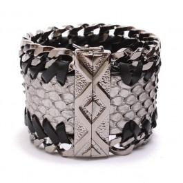Silver python leather bracelet, solid brass chains ruthenium plated