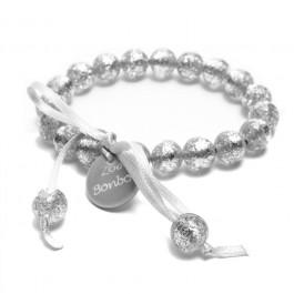 Bracelet mini boules pailletées argent Zoé Bonbon