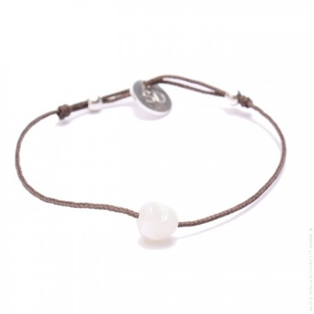 White Mother of Pearl Bracelet Heart Taupe Cord Bracelet