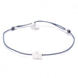Bracelet croix en argent sur lien bleu