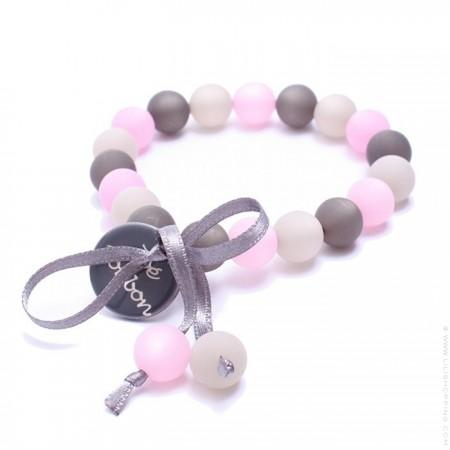 Bracelet mini boules gris rose