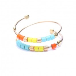 Orange Yellow Turquoise Miyuki Gold Plated Double Ring