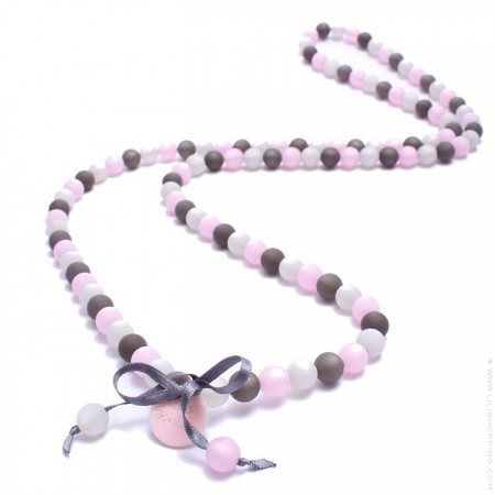 Pink and grey beads long necklace by Zoe Bonbon