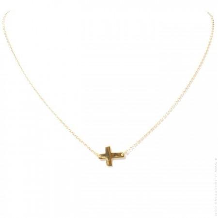 Collier croix plaqué or