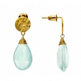 Boucles d'oreilles goutte Athena calcédoine aqua