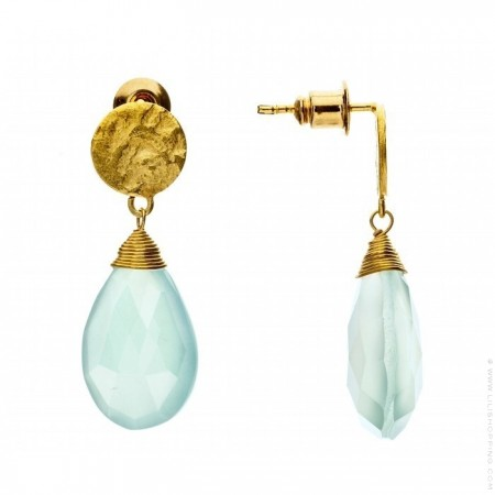Athena aqua calchedony drop earrings