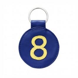 Porte clé en cuir n°8 bleu et jaune