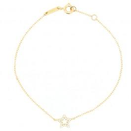 18k Gold and star with white diamonds Bracelet