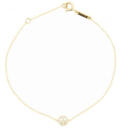 18k Gold and White Diamond Peace & Love Bracelet