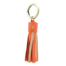 Orange glitter and leather keychain