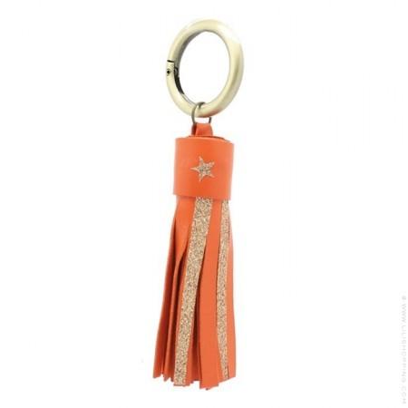 Porte clés cuir et glitter orange