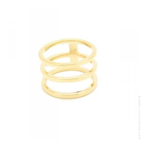 Bague triple anneau plaquée or