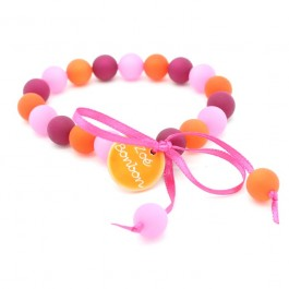 Bracelet mini boules rose orange fushia