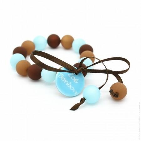 Bracelet enfant turquoise et chocolat Zoé Bonbon