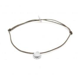Bracelet coquillage argent lien taupe