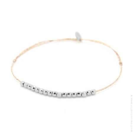 Bracelet lurex et perles en argent