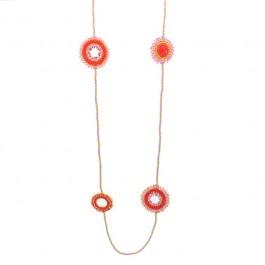 Orange dreamcatcher beads long necklace